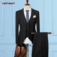 GustOMerD New Arrival Solid Color Men Suits 3 Pieces Business Dress Suits Men Two Buttons Jackets black size m 45 to 52kg