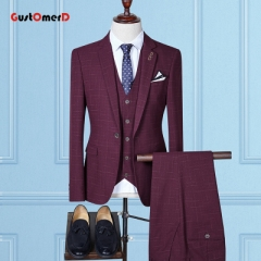 GustOMerD Single Button Men Suits Fashion Plaid Men Slim Fit Business Wedding Suit Men Wedding Dress wine red size m 45 to 52kg