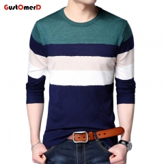 GustOmerD New Fashion Brand Pullover Mens Sweaters Striped Slim Fit Breathable Sweaters For Men green size m 50 to 58 kg