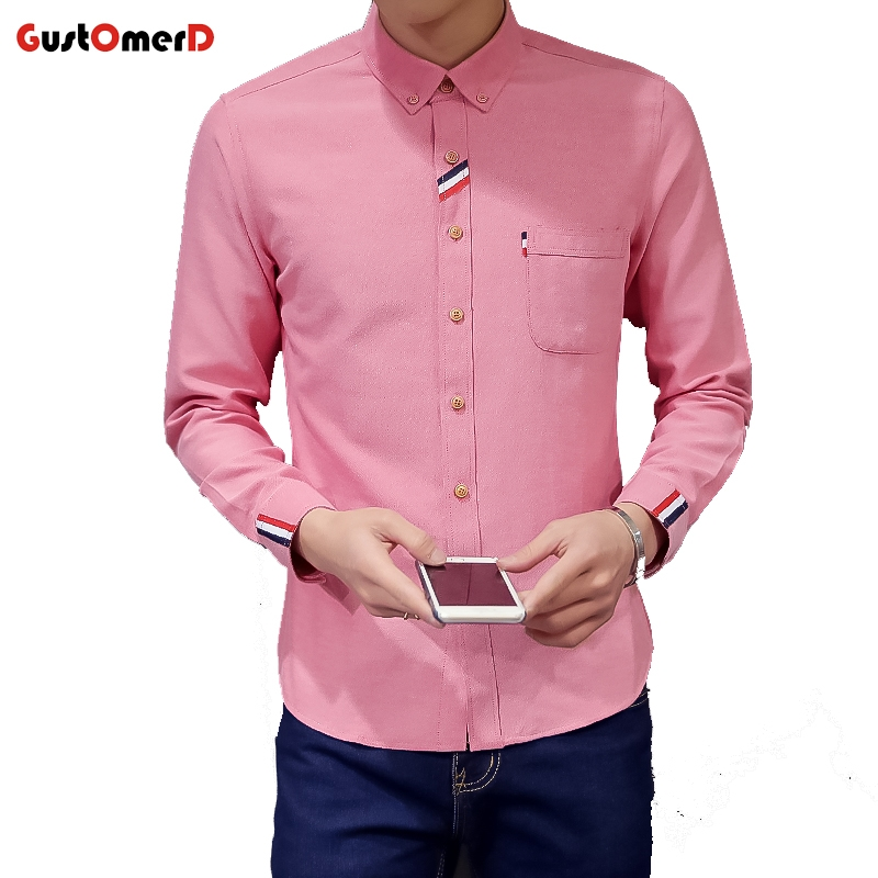 Gustomerd New Men Oxford Shirt Youth Fashion Slim Fit Shirt Brand