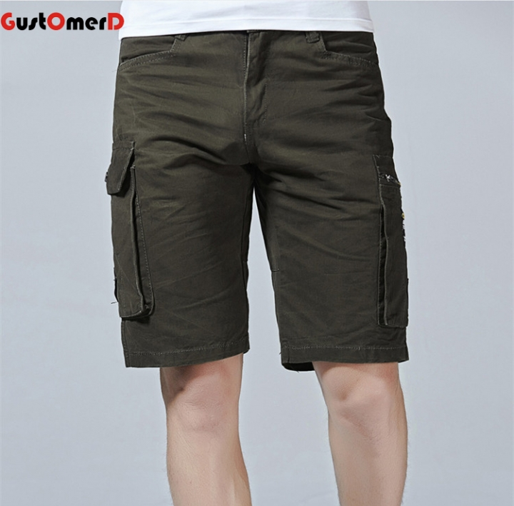 GustOmerD Summer New Casual Shorts Solid Color knee Length Shorts Men Safari Style Zipper Fly Shorts army green 29