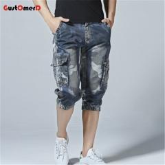 GustOmerD Camouflage Jeans Short Men Casual Denim Pant Multi-Pockets Army Cargo Summer Blue Trousers denim blue 30