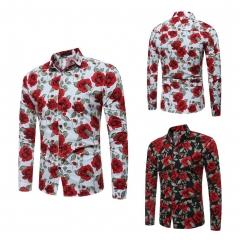 New Men Shirt Flower Print Shirts Mens Slim Fit Casual Men's Clothing Shirts For Men white size l 58 to 65kg