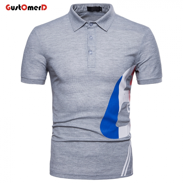 ee81e3cdb2d4 GustOMerD Number Printed Polo Shirts Men Slim Fit Short Sleeve Casual Summer  Breathable Polo light gray