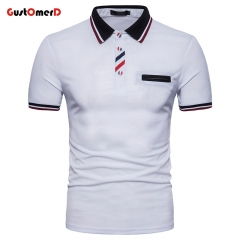 GustOMerD Men's Polo Shirt Short Sleeve Cotton Solid Casual Men Polo Fashion Slim Fit Polos white size s 50 to 58kg cotton & polyester