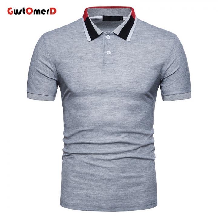 bb7f7b64af4 GustOMerD Summer Short Sleeve Mens Polo Slim Fit Polo Homme Turn-down  Collar Breath Camisa