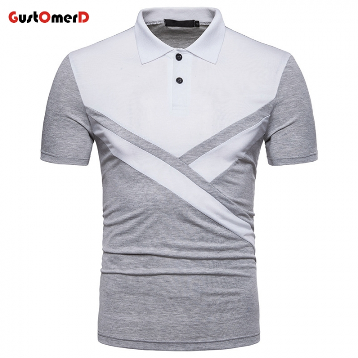 ce998cc425 GustOMerD Fashion New Male Lapel Polo Shirt Patchwork Cotton Man Short  Sleeve Slim Polo Men EU Size light gray size s 50 to 58kg cotton & polyester