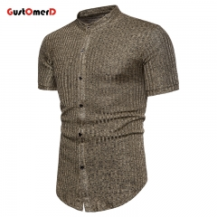 GustOMerD Summer Men Slim Fit Shirt Casual Short-sleeved Shirt Grid Design Fashion Slim Shirt brown size m 50 to 58kg