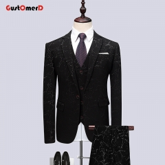 GustOMerD Pants Vest Fashion New Boutique Men Business Casual Printing Coat Trousers Waistcoat flower size m 45 to 52kg