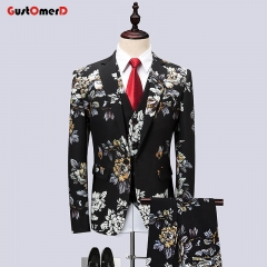 GustOMerD Suit Men Latest Coat Pant Designs Wedding Suits Plus Size Slim Fit Mens Party Prom Suits flower size m 45 to 52kg