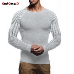 GustOmerD Sweater Men Casual Pullover Men Autumn O-Neck Solid Color Stripe Fold Brand Male Sweaters gray size m 50 to 58 kg