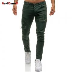 GustOmerD Men Jeans Pants Biker Jeans Men Slim Straight Hole Decoration Trend Street Hip Hop Jeans army-green m
