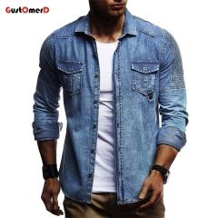 GustOMerD Spring Men's Jacket Fashion Slim Casual Pleated Shoulder Retro Trend Hip Hop Denim Jacket blue size m 50 to 58kg