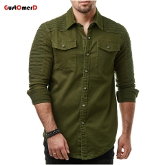 GustOMerD Winter Men's Cotton Casual Solid Slim Fit Button Shirt With Pocket Long Sleeve Tops Blouse army green size m 50 to 58kg