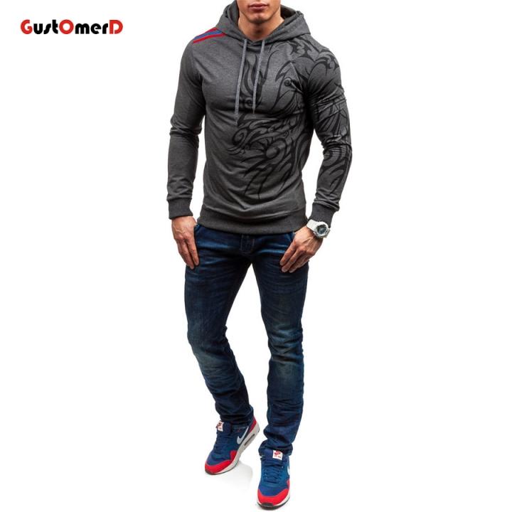 7f542fd21a6fe GustOMerD Men's Hoodies Long Sleeve Sweatshirt 3D Dragon Printed Tracksuit  Hip Hop Men Clothing dark grey size l 58 to 65 kg