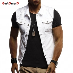 GustOMerD Man Vests Sleeveless Cowboy Fashion Single Breasted Vest Men Casual Slim Fit Sporting Vest white size m 50 to 58kg