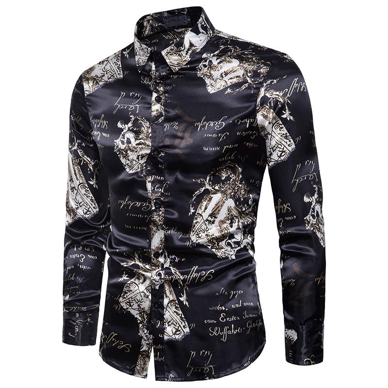 0bab1a18dca GustOMerD Autumn Fashion Slim Fit Flower Print Smooth Fabric Men ...