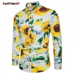 GustOMerD Stylish Sunflower Print Floral Shirt Men Slim Fit Long Sleeve Holiday Party Hawaiian Shirt white size s 50 to 58kg