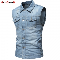 GustOMerD Denim jacket Autumn Winter Military Vintage Clothes Button Sleeveless Men Jeans Jacket light blue size m 50 to 58kg