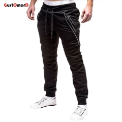 GustOMerD Men's Sweatpants Fashion Men Pencil Pants Drawstring Solid Color Zipper Decoration Pants black 3xl