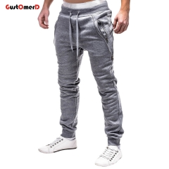GustOMerD Men's Sweatpants Fashion Men Pencil Pants Drawstring Solid Color Zipper Decoration Pants light gray 3xl