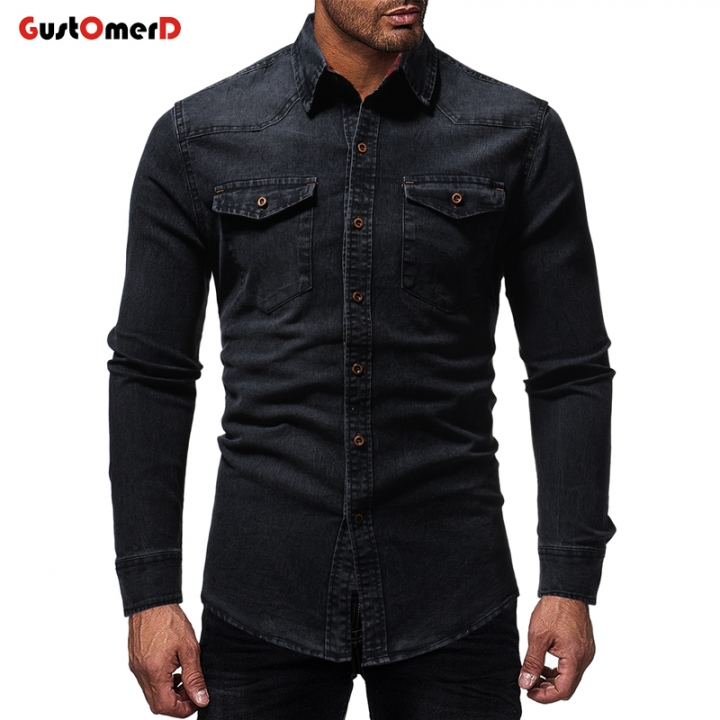 GenericMen Casual Dress Shirt Button Down Jeans Shirts Slim Fit Denim Work Shirts