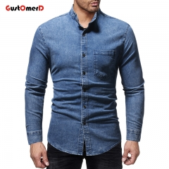 GustOMerD Men Autumn Winter Vintage New Long Sleeve Shirt Blouse Camisa Masculina Dropshipping blue size m 50 to 58kg