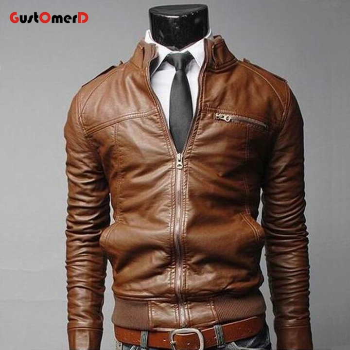 GustOmerD New men's Jacket solid color leather Coat Men collar zippered decorative jacket For Men brown size m 50 to 58kg