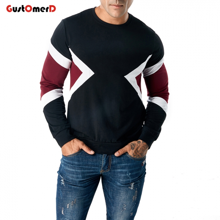 GustOmerD T-Shirt Men Spring Autumn Long Sleeve O-Neck Patchwork Cotton Tee Tops Dropshipping black size 2xl 80 to 88kg cotton & polyester