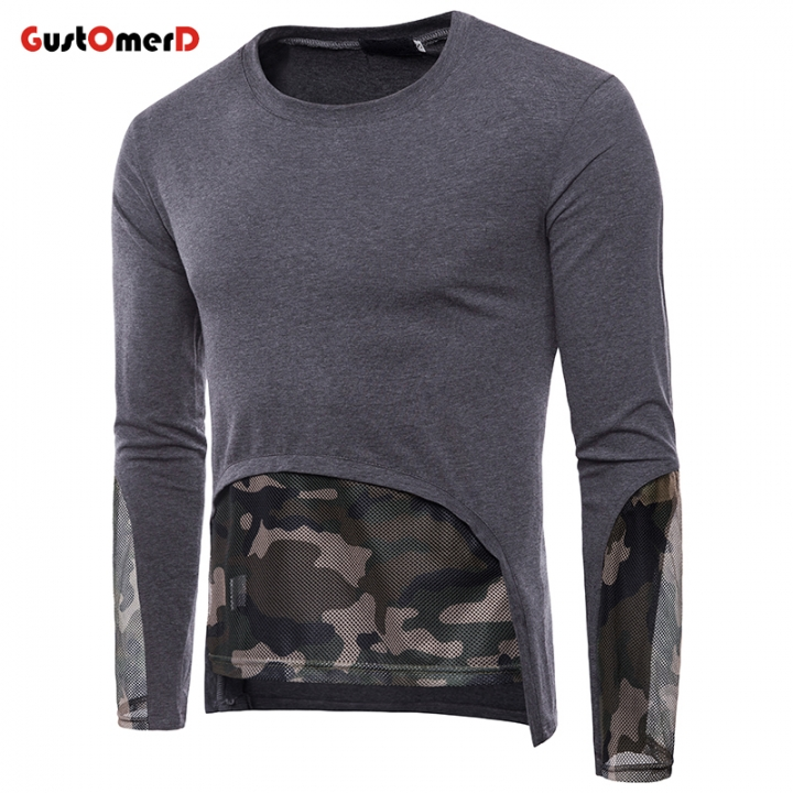 6f84f42b7454 GustOmerD T shirt Mens Patchwork Hollow Out Camouflage O-neck Long Sleeve  Hip Hop Tee