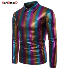 GustOmerD Polo Shirt Men Autumn High Quality Long Sleeve Cotton Colorful Polo Homme Plus Size coarse stripe size s 50 to 58kg cotton & polyester