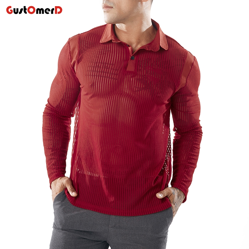 9be8ca3cbdfd6 GustOmerD Autumn Solid Color Men Long Sleeve Slim Fit Sexy Red Black ...