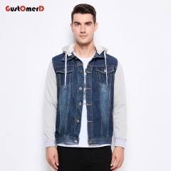 GustOmerD New Fashion Denim Jacket Men Casual Hooded Mens Coat Classic Jeans Mens Jackets And Coats blue size m 50 to 58kg