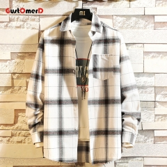 GustOmerD Fashion Small Label Sleeve Color Ribbon Design Men's Casual Long Sleeve Shirt T02-white size M 58 to 65kg