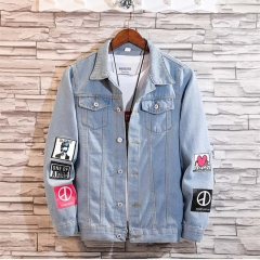 GustOmerD New Fashion Men's Casual Jacket Coat Slim Denim Men's Clothing Jeans lightblue size m 50 to 58kg