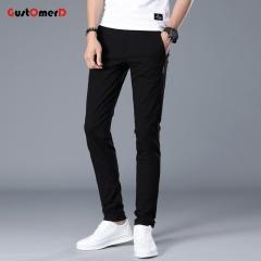 GustOmerD 98% Cotton Men Pants New Business Suit Pants Slim Fit Brand Clothing Casual Trousers Men Black size 31 60 to 65kg