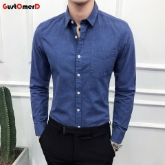 GustOmerD New Men's oxford Slim shirt Pure Color Men's Shirt Casual Long Sleeved Jeans Shirt navy size m 45 to 52kg