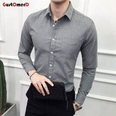 GustOmerD New Men's oxford Slim shirt Pure Color Men's Shirt Casual Long Sleeved Jeans Shirt grey size m 45 to 52kg