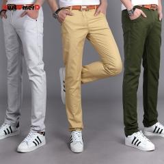 GustOmerD 90% Cotton Fashion Men Trousers Business Casual Pants Straight Trousers Men Long Pants khaki 28