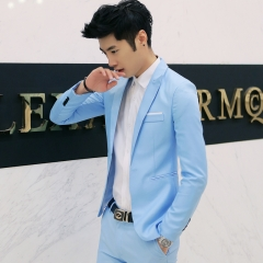 GustOmerD Hot Sale Mens Suit High Quality Jacket Men Business Coat suit (only jacket) sky blue size xl 65 to 72kg