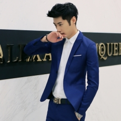 GustOmerD Hot Sale Mens Suit High Quality Jacket Men Business Coat suit (only jacket) sapphire blue size 3xl 80 to 88kg