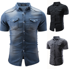 GustOmerD New Fashion Men's Casual Denim Shirt Short Sleeved Jeans Shirt Men's Wear light grey size m 50 to 58kg