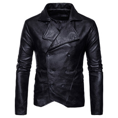 GustOmerD New Leather Jacket Zipper PU Male Leather Jacket Slim Fit Casual Mens Jackets And Coats black size s 45 to 50kg