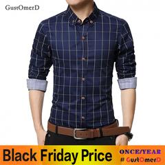 GustOmerD Men Clothes Slim Fit Men Long Sleeve Shirt Men Plaid Cotton Casual Men Shirt Dark blue size m 50 to 58kg