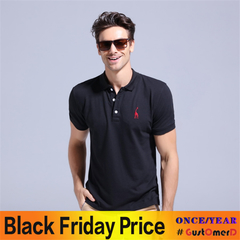 GustOmerD Summer 100% Cotton Polo Shirt Men Short Sleeve Casual Mens Shirts Polos black size S 50 to 58kg cotton