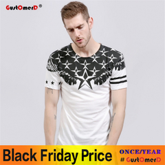GustOmerD Star Print T Shirt Men Short Sleeve Cotton Fitness Mens T-shirts Casual white size s 45 to 50kg cotton