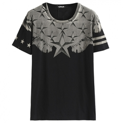 GustOmerD Star Print T Shirt Men Short Sleeve Cotton Fitness Mens T-shirts Casual black size s 45 to 50kg cotton