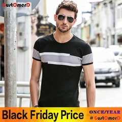 GustOmerD New Short Sleeve O-Neck T Shirt Men Brand Clothing Fashion Patchwork Cotton Tee Tops black size l 58 to 65kg cotton