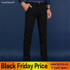 GustOmerD Four Seasons Cotton Straight Casual Mens Pants Loose Solid Color Business Trousers Men Black 28