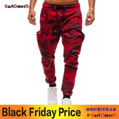 GustOMerD Men Pencil Pants Hip Hop Harem Pants Men's Solid Multi-pocket Joggers Pants Sweatpants red m